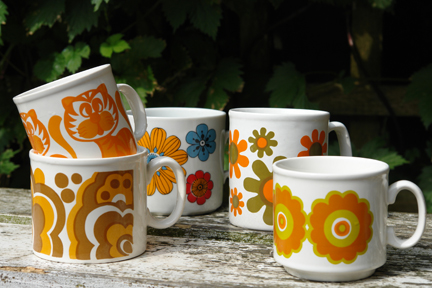 collection of vintage pottery mugs