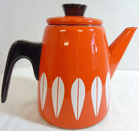 Orange vintage Cathrineholm coffee pot for sale on eBay for Charity by & in support of St Luke's Hospice, Sheffield
