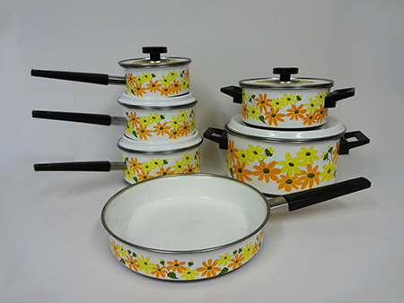 Vintage Prestige floral saucepan set for sale on eBay for Charity by & in support of St Kentigern Hospice