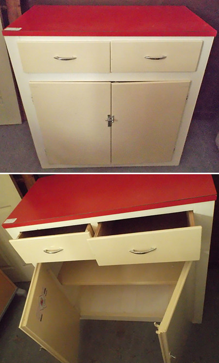 Vintage 1950s kitchen cupboard with drawers and painted red top