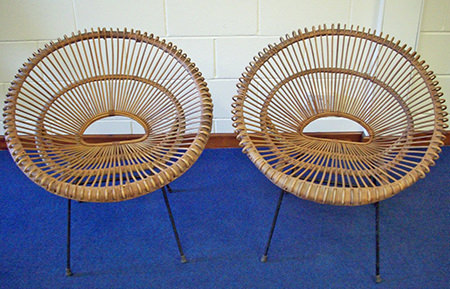 pair of vintage 1950s wicker chairs for sale on eBay for Charity by & in support of East Anglia's Children's Hospices (EACH)