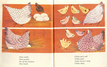 Illustration of chickens from the Little Golden Animal Book | H is for Home