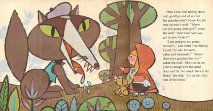 Illustration from vintage Little Red Riding Hood book | H is for Home