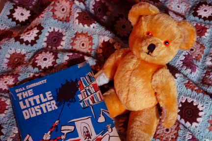 Hand-crocheted blanket with antique teddy bear and vintage children's book | H is for Home