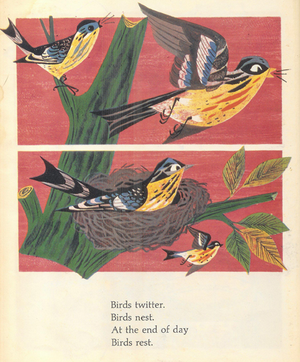 Illustration of blue tits from the Little Golden Animal Book | H is for Home