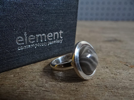 Polished flint ring from Element in Hebden Bridge