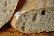detail from a sliced, home-made ciabatta