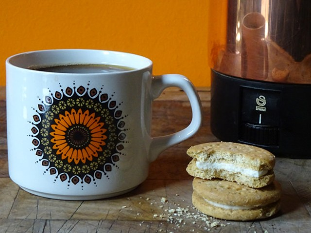 Cup of coffee and biscuits beside a vintage Swan copper electric percolator | H is for Home