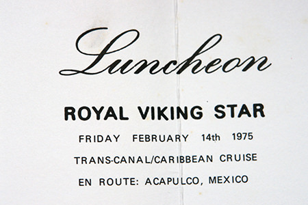 Vintage Royal Viking cruise luncheon menu detail