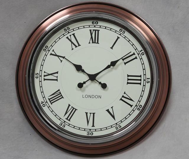 Vintage copper with white face London modern wall clock