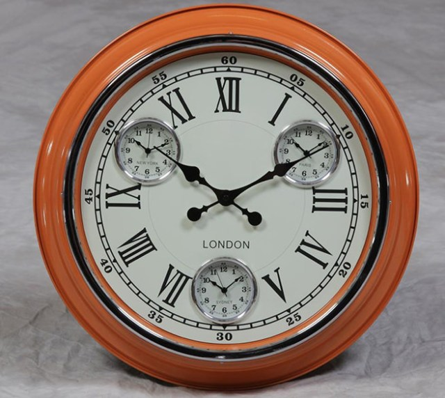 Orange with white face London multi-dial wall clock