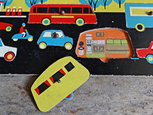 Detailed view of vintage Galt Toys puzzle game showing the caravan | H is for Home