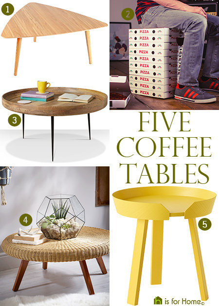 selection of 5 coffee tables