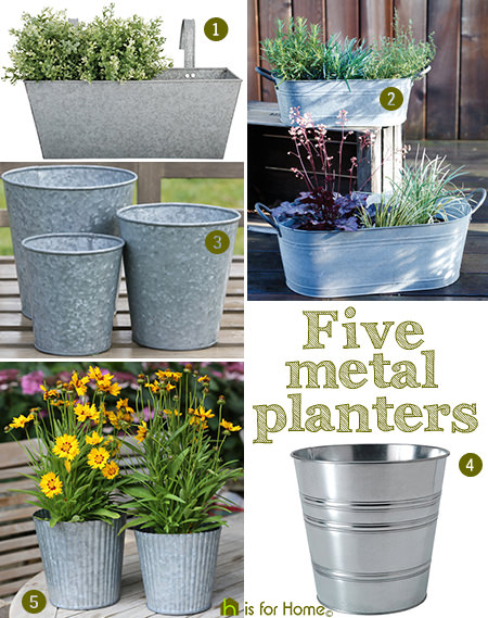 selection of galvanised metal planters