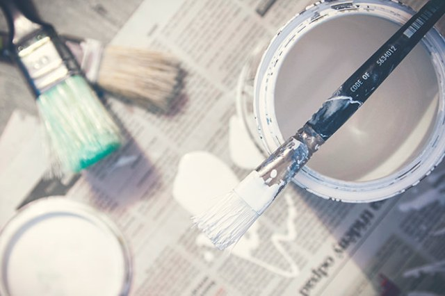 Brushes and wall paint