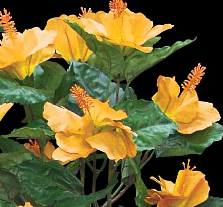 Yellow artificial hibiscus flowers