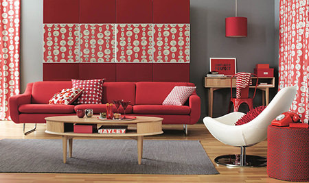 red-decorated sitting room