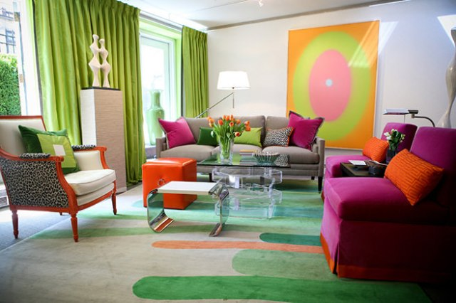 Lime & raspberry decorated sitting room