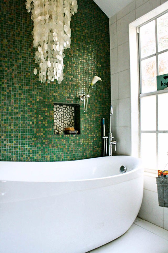 Emerald & gold mosaic tiled bathroom