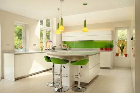 modern kitchen with green flash splashback