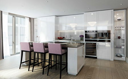 mauve upholstered bar stools in a black & white open plan kitchen