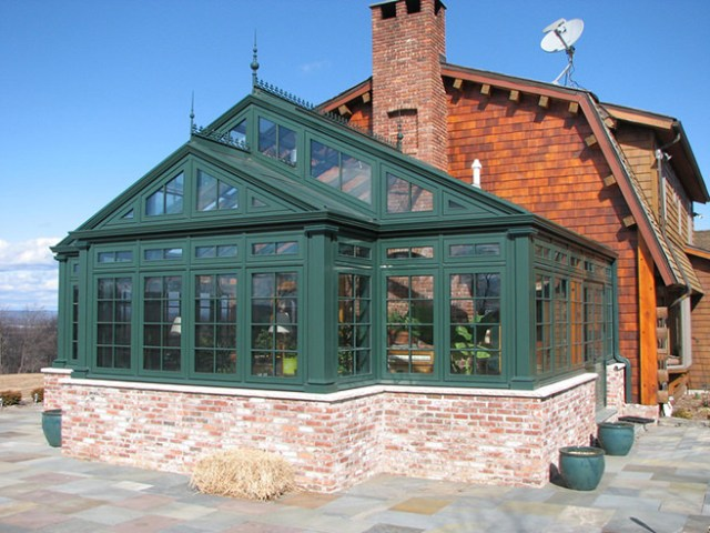 Racing green coloured conservatory