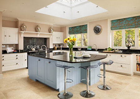 Harvey Jones kitchen with Serenity coloured central island