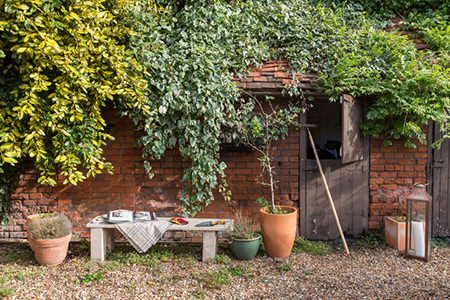 Red brick garden shed