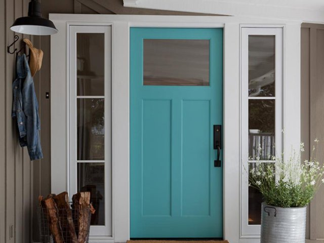 Tiffany Blue painted front door
