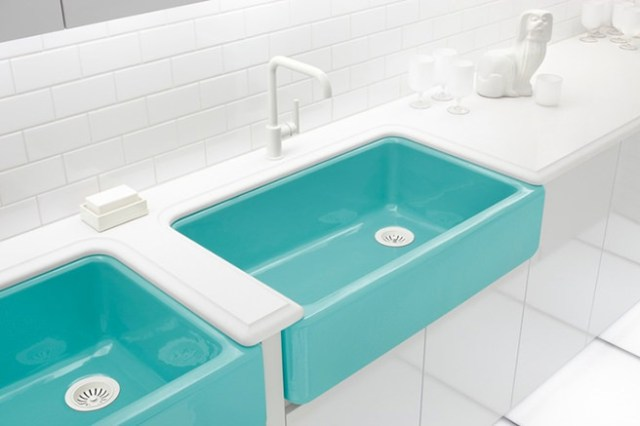 Twin Tiffany Blue bathroom sinks
