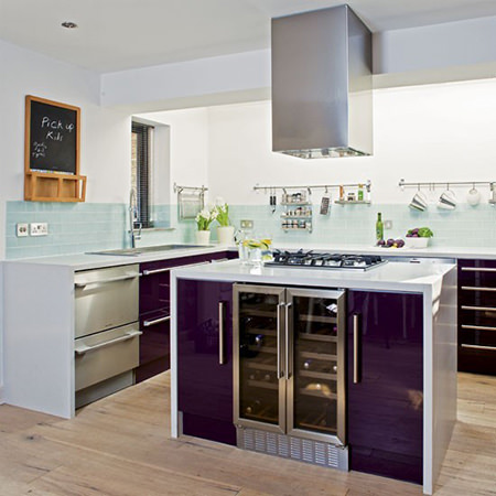 Glossy purple kitchen cabinet doors