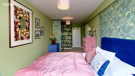 Bedroom with Yeabridge Green walls decorated as part of the BBC's Great British Interior Design Challenge