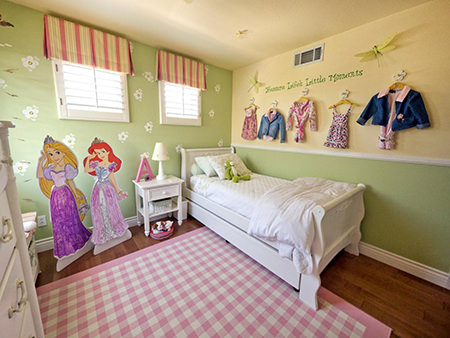 Little girl's bedroom painted with Yeabridge Green walls