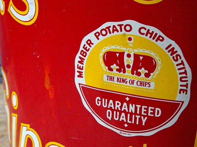 Potato Chip Institute seal on a vintage Husman's Potato Chip tin | H is for Home