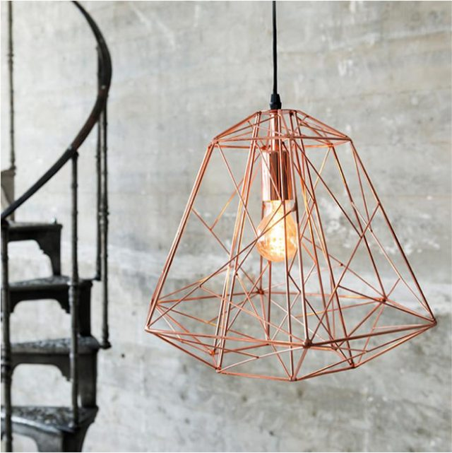 Industrial style copper cage pendant light fitting