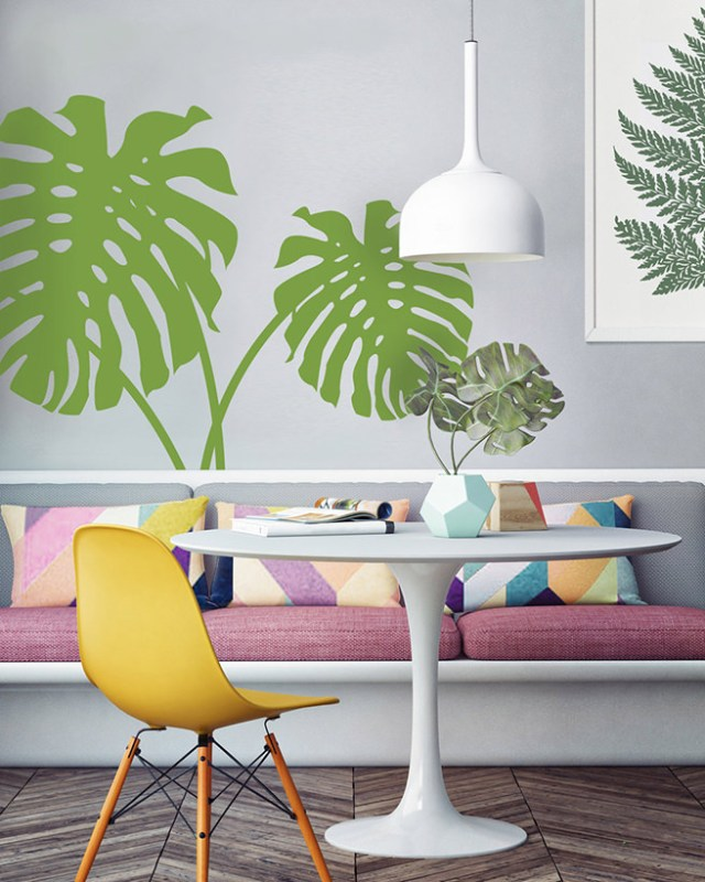 Green cheese plant vinyl sticker on a sitting room wall