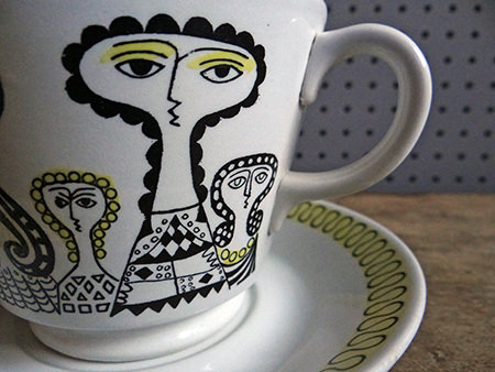 Vintage Birger Kaipiainen cup & saucer showing women's faces