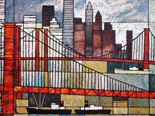 Vintage Ken Law Brooklyn Bridge print | H is for Home