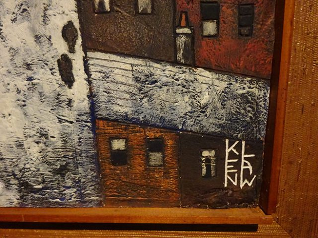 Detail from original Ken Law 'Oldham Landscape', showing signature, etched oil on gesso, circa 1969 | H is for Home