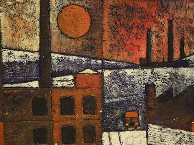 Detail from original Ken Law 'Oldham Landscape', etched oil on gesso, circa 1969 | H is for Home