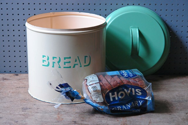 'bread' cream & green kitchen storage tin | H is for Home