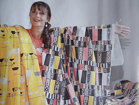 Jill Laverty modelling two of the reissued David Whitehead fabrics