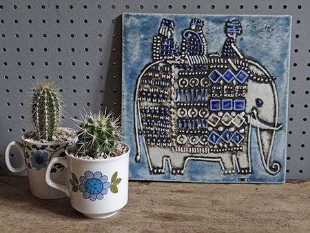 Vintage Gustavsberg Lisa Larson elephant tile with mugs of cacti