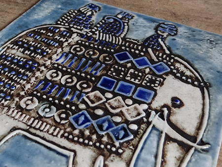 Detail from a vintage Gustavsberg Lisa Larson elephant tile