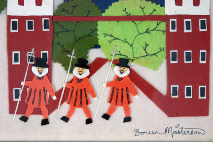 vintage felt artwork depicting 3 Beefeaters at the Tower Of London