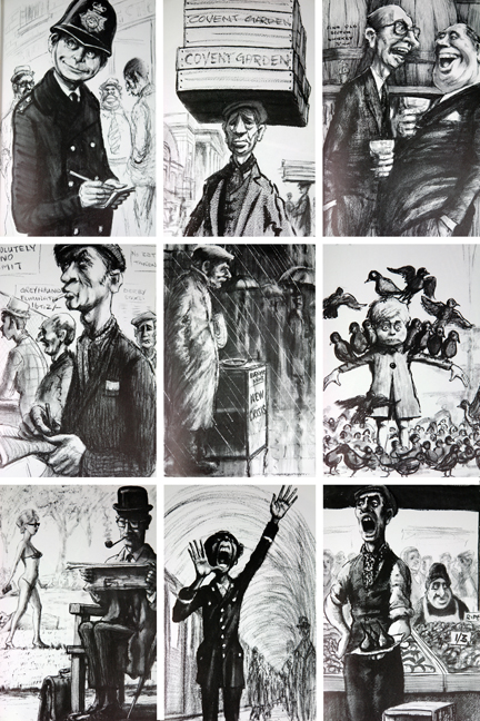 """mosaic of sketches taken from vintage book entitled """"A View of London"""" by Edward Pagram"""
