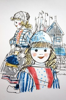 KLM menu illustration by Otto Dicke depicting girls in traditional Dutch costume
