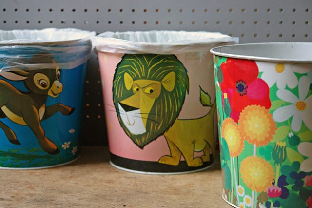 Three vintage metal waste paper bins | H is for Home