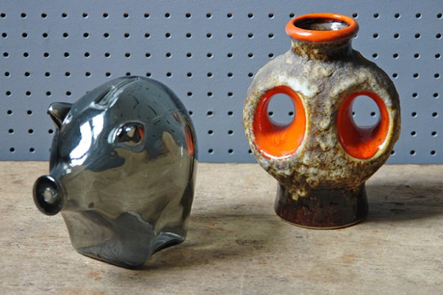 Small vintage Dümler & Breiden fat lava vase and Cascade glass piggy bank