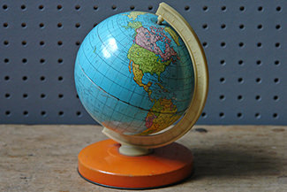 Vintage child's tin globe | H is for Home